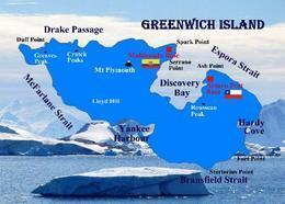 Antarctica Greenwich Island Map New Postcard Antarktis Landkarte AK - Sonstige