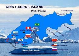 Antarctica King George Island Map New Postcard Antarktis Landkarte AK - Sonstige