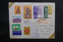 INDONÉSIE - Enveloppe En Recommandé De Djakarta Pour La France En 1963, Affranchissement Plaisant - L 38956 - Indonésie