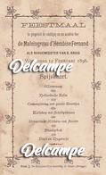 Menukaart - Feestmaal 'de Maleingreau D'Hembise Fernand - Burgermeester Van St-Kruis (Brugge)' 12 Febr.1896 - Menus