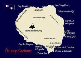 Crozet Islands Pig Island Map Île Aux Cochons TAAF New Postcard Crozetinseln Landkarte AK - TAAF : Franse Zuidpoolgewesten
