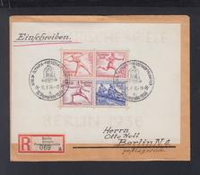 Dt. Reich Olympia 1936 Block Auf R-Brief - Storia Postale