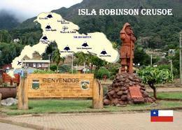 Chile Robinson Crusoe Island Map New Postcard Insel Landkarte AK - Chile