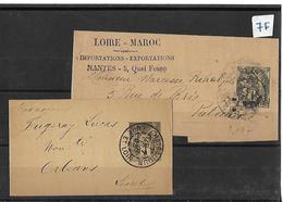 """Lot De 2 Timbres """" Entier Postal SAGE 1 C Et  BLANC 1 C  TAD Chateaudun PUB LOIRE MAROC - France"""