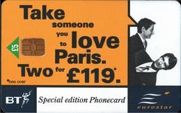 ! Telefonkarte, Phonecard, Eurostar, Railway, Eisenbahn, United Kingdom, British Telecom - Ver. Königreich