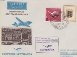 Aérophilatélie-AB 31 October 1955 Einbeziehung STUGGART Ins Innerdeutche Flugnetz Par Lufthansa-cachet De Stuggart Du 31 - Airmail