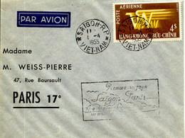 Aérophilatélie-Premier Voyage SAIGON-PARIS Par Air Vietnam-cachet De SaÏgon Du 1.04.55 - Airmail