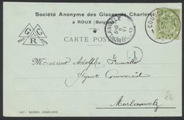 """Fine Barbe - N°56 SBD + Perforation De Firme Sur Carte Imprimée """"S.A. Des Glaces De Charleroi"""" De Courcelles Vers Morlan - 1893-1900 Thin Beard"""