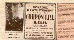 COUPON T.P.T.(ABBAYE DE HAUTECOMBE) - Billetes De Transporte