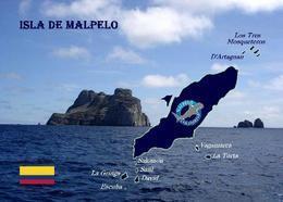 Colombia Malpelo Island Map New Postcard Landkarte AK - Kolumbien