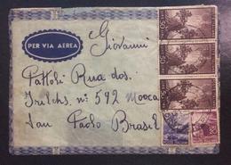1950 POSTA AEREA - SU BUSTA VIAGGIATA DA LUCCA X SAN PAOLO DEL BRASILE SERIE DEMOCRATICA - 6. 1946-.. Repubblica