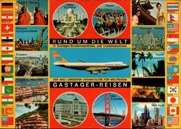 !  Ansichtskarte Weltreisen, Boeing, Burma, Singapur, Bangkok, Hongkong, China, Japan, Hawaii, Kanada, New York, Korea, - China (Hongkong)