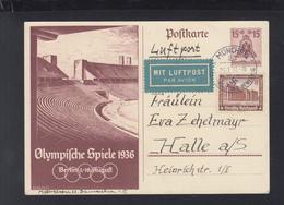 Dt. Reich GSK Mit ZuF Luftpost 1937 München Nach Halle - Briefe U. Dokumente
