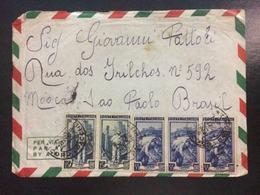 1952 Italia Al Lavoro - POSTA AEREA - SU BUSTA VIAGGIATA DA LUCCA X SAN PAOLO DEL BRASILE - 6. 1946-.. Repubblica