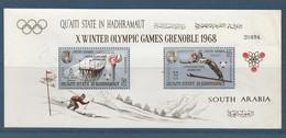 QU'AITI STATE IN HADHRAMAUT - SOUTH ARABIA - Bloc Jeux Olympiques Grenoble 1968 - Neuf** (Lot Arabie Du Sud 1) - Ver. Arab. Emirate