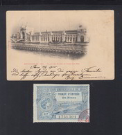 Carte Postale Exposition 1900 Avec Ticket - Poststempel (Briefe)