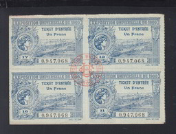 France Exposition 1900 4 Tickets D'Entree - Eintrittskarten