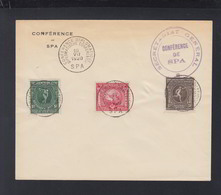 Couvert Conference De Spa 1920 - Gefälligkeitsabstempelung