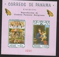 PANAMA - 1966  QUADRI DI BOTTICELLI E MIGNARD - FOGLIETTO NUOVO ** (MICHEL BL 58) - Religione