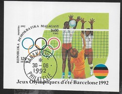 MADAGASCAR - GIOCHI OLIMPICI BARCELLONA '92 - PALLAVOLO  - FOGLIETTO USATO ( YVERT BF 77 - MICHEL BL 191) - Estate 1992: Barcellona