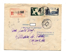 Lettre Recommandée Paris 94 Sur Avion Nancy - Postmark Collection (Covers)