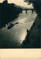 PARIS  La Seine Quai De Montebello  Photo Bromure Noir Et Blanc 1951 Albert Monier - El Sena Y Sus Bordes
