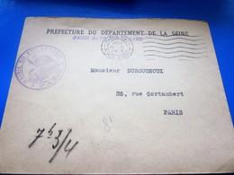 WW1-Lettre F.M- Prefecture De La Seine Cachet Militaire Mairie 1er Arrt CAD PARIS XVI  Marcophilie Guerre 14/18 - Poststempel (Briefe)