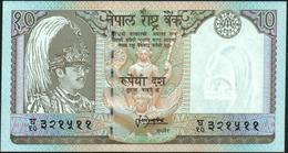 "NEPAL - 10 Rupees Nd.(1995-2001) {narrow Serial Prefix Letter ""Gha""} UNC P.31 B(1) - Nepal"