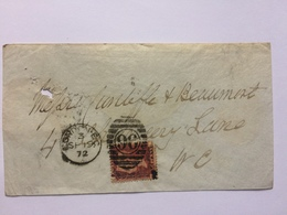 GB Victoria 1872 Cover London Internal Tied With 1d Red Plate 130 - Brieven En Documenten