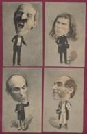 130819 - ILLUSTRATEUR E ERNST 4 Cartes GROSSE TETE HUMOUR SATIRE - Politique ? - Illustrateurs & Photographes