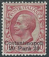 1909-11 LEVANTE COSTANTINOPOLI EFFIGIE 20 PA SU 10 CENT MH * - RA26-6 - 11. Foreign Offices