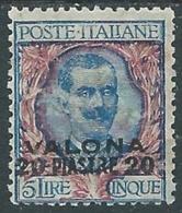 1909-11 LEVANTE VALONA FLOREALE 20 PI SU 5 LIRE MH * - RA26-7 - 11. Foreign Offices