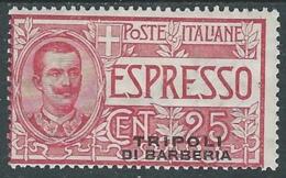 1909 LEVANTE TRIPOLI DI BARBERIA ESPRESSO 25 CENT MH * - RA27-4 - 11. Foreign Offices