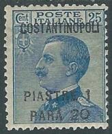 1923 LEVANTE COSTANTINOPOLI EFFIGIE 1,20 PI SU 25 CENT MH * - RA26-6 - 11. Foreign Offices