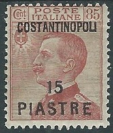 1923 LEVANTE COSTANTINOPOLI EFFIGIE 15 PI SU 85 CENT MH * - RA26-7 - 11. Foreign Offices