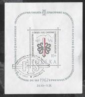 POLONIA - 1962 - CAMPIONATO MONDIALE SCI NORDICO ZAKOPANE - FOGLIETTO USATO (MICHEL BL 26) - Sci