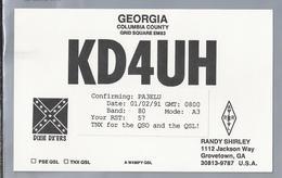 US.- QSL KAART. CARD. KD4UH. RANDY SHIRLEY, GROVETOWN, GEORGIA. DIXIE DX'ERS. COLUMBIA COUNTY. U.S.A. - Radio-amateur