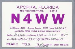 US.- QSL KAART. CARD. N4WW. APOKKA, FLORIDA, FOXFIRE TRAIL. AUSTIN 'DOC' REGAL. ORANGE COUNTY. U.S.A. - Radio-amateur