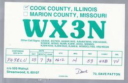 US.- QSL KAART. CARD. WX3N. DAVE PATTON, STREAMWOOD, ILLINOIS. COOK COUNTY. U.S.A. - Radio-amateur