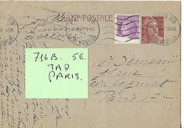 Timbre Entier Postal  TYPE Marianne 3.50 Fr PARIS 69 - 1945-54 Marianne De Gandon