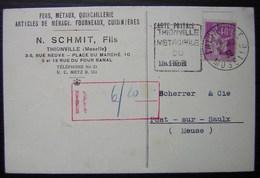 Thionville 1933 N. Schmit Quincaillerie, Carte Avec Daguin Pour Pont Sur Saulx (Meuse) - Postmark Collection (Covers)
