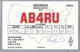 US.- QSL KAART. CARD. AB4RU. RON HOOPER., LULA, GEORGIA. BANKS COUNTY. U.S.A. - Radio-amateur