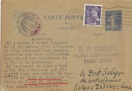 Timbre Entier Postal  TYPE Semeuse 40 C Bleu M DEMENY Armoiries BORDEAUX Histoire - 1906-38 Semeuse Camée