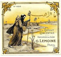 Etiquette G. LEMOINE - Extrait Concentré, Parfumerie Du Globe - Moine, Paysage Algérien - Etiketten