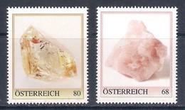 Austria (2019) Minerals (Topaz And Rose Quartz) - Set Of 2 Stamps (MNH) - Marken Edition 1 - Minerali
