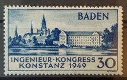 DEUTSCHLAND / BADEN 1949 - MNH, Postfrisch - Mi 46 - Ingenieur-Kongress Konstanz 1949 - Zone Française