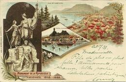 Neuchatel (Svizzera) Le Monument De La Republique 1848-1898, Riproduzione D14, Reproduction, Illustrazione - NE Neuchâtel