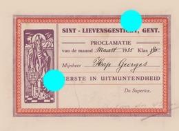 Sint Lievensgesticht Institut  1935 GENT GAND - Diplômes & Bulletins Scolaires