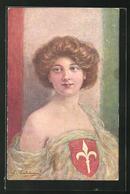 Künstler-AK Sign. G. Caldana: Frau Im Weissen Kleid Mit Wappen Vor Der Italienischen Flagge - Illustrators & Photographers