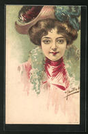 Künstler-AK Sign. Jaullot: Elegante Junge Dame Mit Hut - Illustrators & Photographers